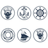 labels with boat ,captain skull ,wheel,anchor and Stock Photo