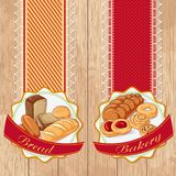 Labels with bread and pastries. Vector illustration set of labels with bread and pastries on a wooden background. Design in retro style for restaurants, cafes stock illustration