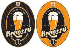 Labels for brewery. Two labels for the brewery with a beer Royalty Free Stock Images