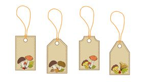 Labels, cards with the image of forest mushrooms. Vector stock illustration