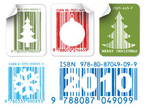 Labels with Christmas bar codes stock illustration