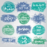 Labels with Christmas and New Years designs. Decorative tags and elements set for holiday lettering design . Royalty Free Stock Photo