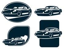 Labels classiques de silhouette de voiture, rétro vecteur de voiture de vintage Voiture de sport classique Photos libres de droits
