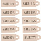 Labels collection. Label for advertising with grey lettering Sale 10%, 20%, 30%, 40%, 50%, 60%, 70%, 80%, 90% on Kraft paper Stock Photography