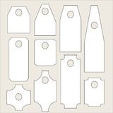 Labels collection. Rectangular white labels of various shapes Royalty Free Stock Photos