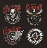 Labels colorés de moto faite sur commande de cru illustration de vecteur