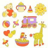 Labels colorés de vecteur mignon de bébé Photographie stock libre de droits