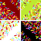 Labels & confettis. Vector four colorful  graphic backgrounds Stock Image