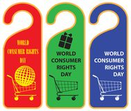 Labels for Consumer Rights Day Stock Images
