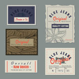 Labels crus de denim de blues-jean originales de vintage Photo libre de droits