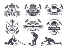 Labels for curling sport team. Curling sport with stone, competition badge and label, vector illustration Stock Photos