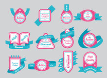 Labels with cyan ribbons isolated on gray background Stock Photography
