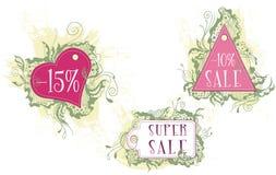 Labels décoratifs de diverses formes Images stock