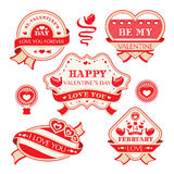 Labels décoratifs de jour de valentines Photo stock
