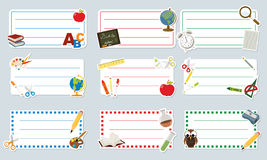 Labels d'école Images stock