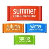 Labels d'été, d'automne, d'hiver et de collection de ressort Images libres de droits