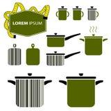 Labels d'affaires Formes de casserole et de pot illustration de vecteur