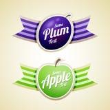 Labels d'Apple et de prune Photos libres de droits
