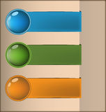 Labels with 3D buttons in three colors. Vector illustration Stock Image