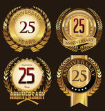 Labels d'or d'anniversaire 25 ans Photos libres de droits
