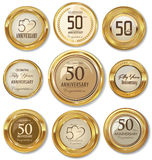Labels d'or d'anniversaire, 50 ans Photo stock