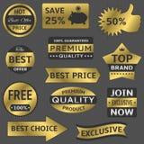 Labels d'or de vecteur Photos stock