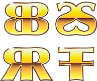 Labels d'or du BB solides solubles rr FF Photo stock