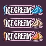 Labels d'ensemble de vecteur pour la crème glacée  Photo stock