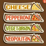 Labels d'ensemble de vecteur pour la pizza italienne Illustration de Vecteur