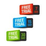 Labels d'essai gratuit Photos stock