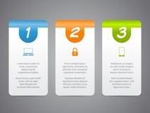 Labels d'Infographic avec les icônes et les nombres frais illustration de vecteur