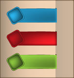 Labels with 3D square buttons. In three colors, vector illustration Stock Image