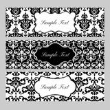 Labels on damask background. Black and white labels on damask background Stock Photography