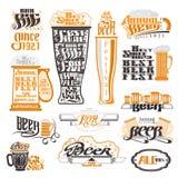 Labels de bar et de festival de bière, insignes et collection d'icônes Photo libre de droits