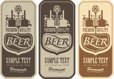 Labels de bière avec la brasserie illustration de vecteur