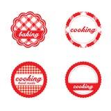 labels de boulangerie, guingan rouge Photographie stock