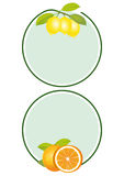 Labels de citrons et d'oranges Image stock