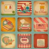 Labels de crème glacée rétros Photographie stock libre de droits