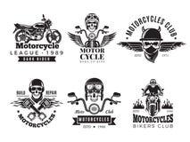 Labels de cycliste La moto faite sur commande et les symboles de cru pour des drapeaux de vélo de crâne d'insignes roulent la rou illustration de vecteur