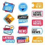 Labels de dernières nouvelles Bannières de l'information avec des mots promotionnels Insignes de vecteur d'annonce de bulletin d' illustration libre de droits