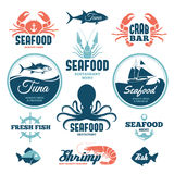 Labels de fruits de mer Images libres de droits