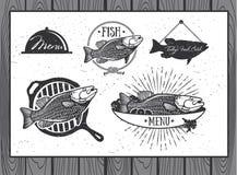Labels de fruits de mer, conception d'emballage de poissons Images libres de droits