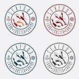 labels de fruits de mer dans le rétro style Images libres de droits