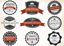 Labels de la meilleure qualité de qualité et de garantie avec le rétro style de vintage illustration libre de droits