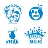 Labels de lait Images libres de droits