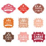Labels de logo de boulangerie de vintage de F rétros Image libre de droits