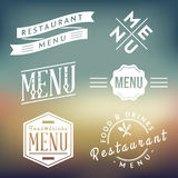 Labels de menu de restaurant Photos libres de droits
