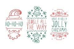 Labels de Noël avec le texte sur le fond blanc illustration de vecteur