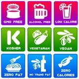 Labels de nourriture Photographie stock libre de droits