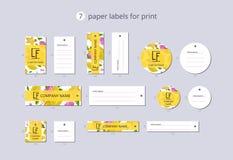 Labels de papier d'habillement de vecteur pour la copie avec le carambolier et la fleur de modèle Photographie stock libre de droits